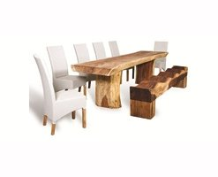 Rustic Boat Wood Dining Table Junie Highback Chairs