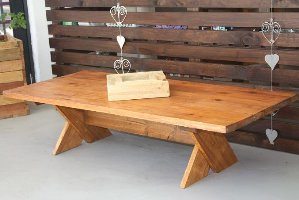 Cross leg coffee table that furniture website for Cross leg table plans